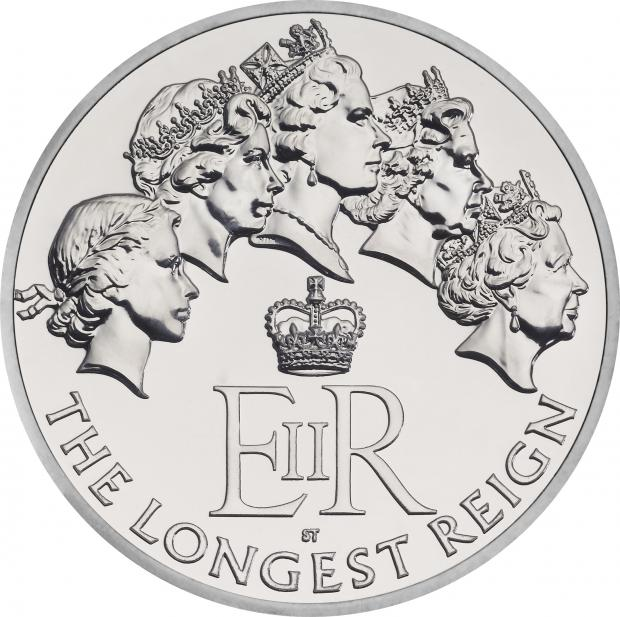 £20 silver coin depicts Queen throughout her reign